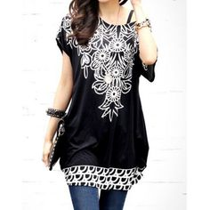 Bohemian Scoop Neck Short Sleeve Floral Print Loose-Fitting Black T-Shirt For Women