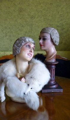 "Golden and Silver Bullion ""Hair"" Cloches, Paris, ca. 1920s"