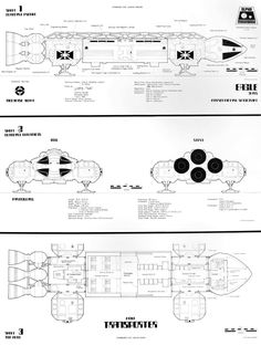 This is a scan of my Starlog blueprint of the Space:1999 Eagle. Done around 1977, the drawing is by Geoffrey Mandel. I claim no ownership of the design or drawing.
