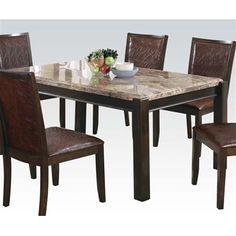 5-pc Dwayne Emparedora Gray Marble/Dark Walnut Dining Table Set