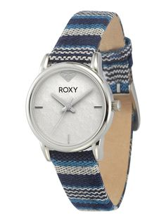 Roxy Stainless steel and canvas watch, $65; roxy.com