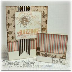 "Cards created with Close To My Heart ""Buzz & Bumble"" paper and Quick Card - Bumble Bee Stamp.  By Tamytha Jenkins of www.paperheartist.com for New Product Blog Hop."