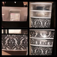 Old plastic drawer cart turned new! Scrapbook paper, spray adhesive and duct tape...voila