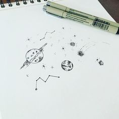 Constellations & planets #graphicbyd #illustration #sketch #dotwork…