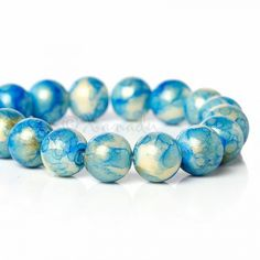 Blue Gold Dust Wholesale 10mm Round Glass Beads G4933 - 50/100/200
