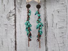 Turquoise Gem stone Dangle  Earrings от TheVintageBoho на Etsy