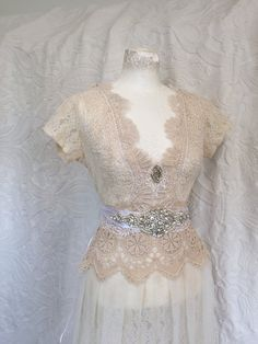 Vintage inspired wedding dress victorian cream and by RAWRAGSbyPK
