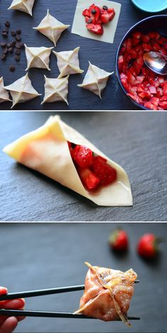 Mouthwatering Strawberry Recipes To Get You Pumped For Spring The Cutest Strawberry-Chocolate Dumplings You've Ever Seen. more hereThe Cutest Strawberry-Chocolate Dumplings You've Ever Seen. Asian Desserts, Just Desserts, Delicious Desserts, Dessert Recipes, Yummy Food, Tasty, Chinese Desserts, Healthy Food, Yummy Treats