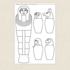 Egyptian Sarcophagus and Canopic Jars Colouring Sheet - CleverPatch