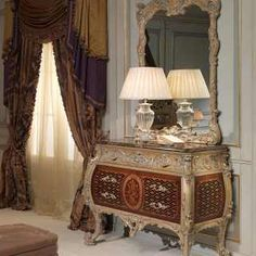 Carved wood chest of drawers and wall mirror Emperador Gold collection classic style, walnut and grey patinated gold finish, marble top, Luigi XV style