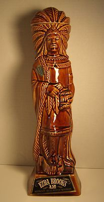 Vintage 1968 Ezra Brooks Indian Chief Decanter 90 Proof Real Sippin' Whiskey