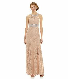 Sequin Hearts Beaded Halter Lace Gown #Dillards