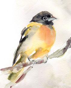 Impresión del arte del pájaro pintura de aves por CanotStopPrints