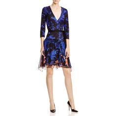 DIANE von FURSTENBERG Riviera Floral Silk Wrap Dress ($478) ❤ liked on Polyvore featuring dresses, blue, 3/4 sleeve dress, white wrap dress, blue dress, floral wrap dress and 3/4 sleeve wrap dress