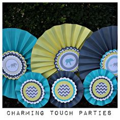 Set of 6 aqua yellow and gray gender by CharmingTouchParties, $33.00