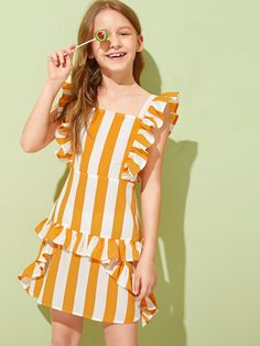 Girls Ruffle Trim Striped Dress Kids Summer Dresses, Girls Summer Outfits, Cute Girl Outfits, Little Girl Dresses, Kids Outfits, Girls Dresses, Summer Clothes, Girls Fashion Clothes, Tween Fashion