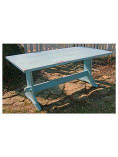 Country Farm Piedmont Trestle Table, Thick Top, Aquamarine, Medium Rub/Distressing