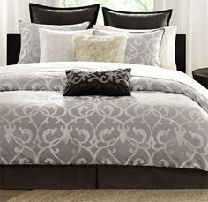 Hampton Hill Landau Comforter Set - I think this will be the one Ronnie picks! Add a deep purple throw Grey Comforter Sets Queen, Twin Xl Bedding, Bedding Sets, Dream Bedroom, Home Bedroom, Master Bedroom, Bedroom Decor, Bedroom Ideas, Bedroom Curtains