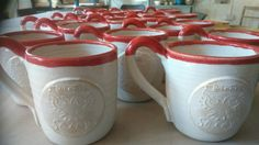 Mugs commissioned by Sexeys School, Bruton Rustic Elegance, Pottery, Ceramics, Mugs, School, Tableware, Gifts, Ceramica, Ceramica