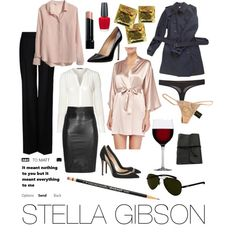 Stella Gibson by audreyhorne on Polyvore featuring moda, H&M, Burberry, Neiman Marcus, STELLA McCARTNEY, SLY 010, Chantal Thomass, Diesel, Gianvito Rossi and Manolo Blahnik
