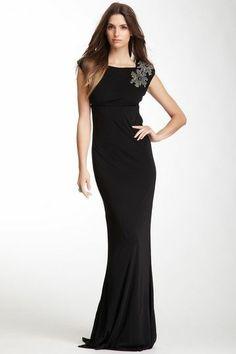 Open Back Gown In Black.