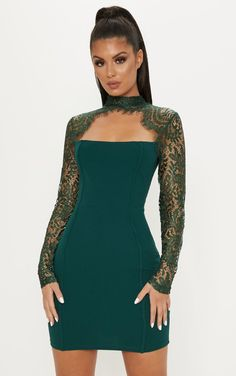 4a9907b28515 Emerald Green Lace Arm Binded Dress