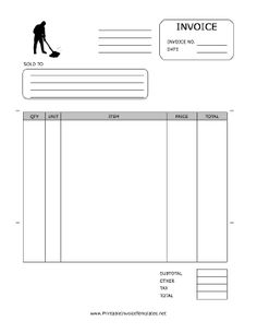 A printable invoice for use by a cleaning or janitorial firm, featuring a black-and-white graphic of a figure mopping. It has spaces to note quantity, unit, item, price, and more. It is available in PDF, DOC, or XLS (spreadsheet) format. Free to download and print