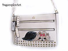 Yorkie Hand Painted Hue & Ash Handbag Purse Shoulderbag SugarspiceArt