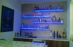 Our curved led floating shelves are sure to make your back bar stand out! Each of our led shelves includes our nexus led lighting system and come with a lifetime warranty!