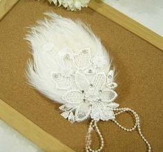 Bridal Feather white Fascinator rhinestone headpiece hair clip BA142 13€