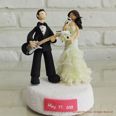 Music lover, guitarlist couple custom wedding cake topper, decoration, wedding centerpiece special for wedding, engagement, anniversary, bridal shower