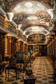Baroque Library Hall Klementinum, Prague.