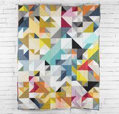 Jennifer Sampou Studio Stash Fabric & Braque Pattern Quilt 4 inch HST ...very modern 60 x 76