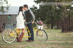 Tandem bike engagement session vintage, rustic by Jamie Huffman Photography