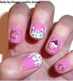 Get the look at www.charliesnailart.co.uk with 3d nail art cupcakes pk of 10 ONLY £1   Nails by blogger sophie jenner http://www.charliesnailart.co.uk/bloggers/