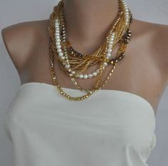 Chunky Trend Layered Freshwater and Amber Crystal Pearl Necklace