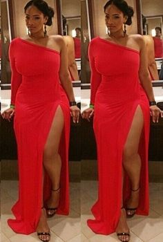 Plus Size Prom Dress,Red Prom Dress,Split Prom Dress,Fashion