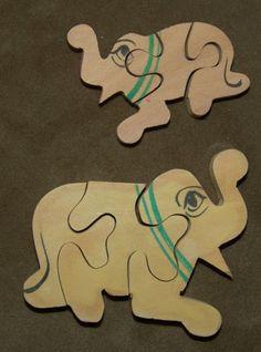 Vintage 1955 grand artisanal bois Animal Puzzle par therpsajik