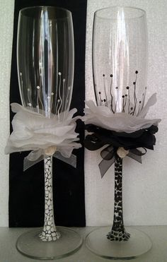 Hand painted and Silk Wedding Toasting Flutes Set of by AlenaShop, $40.99