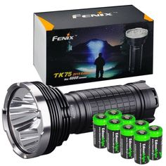 FENIX TK75 4000 Lumen 2015 Edition 4 CREE XM-L2 U2 LED Flashlight / Searchlight with eight EdisonBright CR123A lithium batteries bundle * This is an Amazon Affiliate link. Visit the image link more details.
