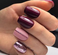 Trendy Manicure Ideas In Fall Nail Colors;Purple Nails; nails shop Nägel Ideen lila Trendy Manicure Ideas In Fall Nail Colors Simple Nail Art Designs, Winter Nail Designs, Cute Nail Designs, Simple Art, Nail Color Designs, Nail Designs For Summer, Striped Nail Designs, Pretty Designs, Light Colored Nails