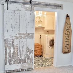Laundry room doors lovely with barn door and painted tile floors home sliding glass w . design ideas for a country laundry room in barn Barn Doors Sliding, Stenciled Floor, Barn, Painted Floor, Wood Doors Interior, Barn Door Hardware, Laundry Doors, Laundry Room Update, Vintage Porch