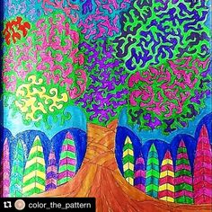 """Mental Images Coloring Books (@paivivesala_art) on Instagram: """"Tree full of colors! 💚💙❤️💛💜 Colored by @color_the_pattern Coloring book: Mental Images vol 1"""""""