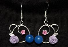 Round Floral Silver Plated Brass Earrings with Pink Swarovskis, Blue Glass & Purple Acrylic - JnE
