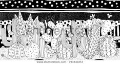 Black and white doodle cactus and memphis black and white pattern Prickly pear, agave, saguaro, cactus flower. Adult Coloring book page. Cactus Pot, Mini Cactus, Cactus Flower, Adult Coloring Book Pages, Coloring Books, Flower Anatomy, How To Grow Cactus, Black And White Doodle, Black White