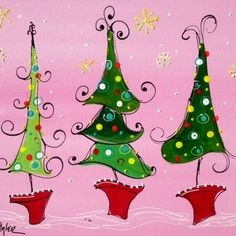 Three whimsical Christmas trees                                                                                                                                                                                 More