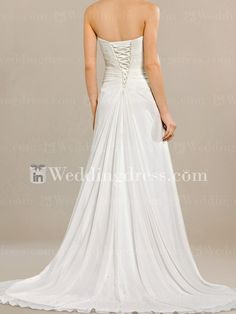 Chiffon Summer Beach Wedding Dress. Strapless beach wedding dress has a beautiful blend of romance and stylish extras that gives it a distinctive look. Strapless and ruched bodice is embellished with delicate beaded motif. You will love the draped ruffled fabric down the front of the skirt. This gown has a corset closure at back.