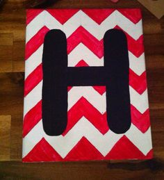 Chevron canvas painting with initial on Etsy, $10.00
