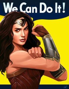 "Wonder Woman ""We can do it."" - Rosie the Riveter style Wonder Woman Art, Gal Gadot Wonder Woman, Wonder Women, Wonder Woman Quotes, Wonder Woman Fitness, Wonder Woman Movie, Wonder Woman Cosplay, Superman Wonder Woman, Rihanna"