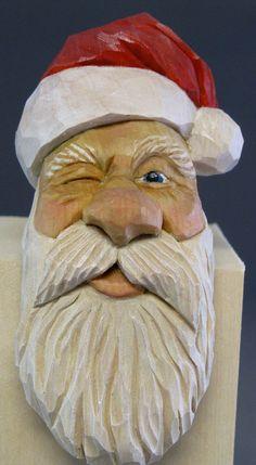 Santa shelf sitter Christmas wood carving winking by cjsolberg